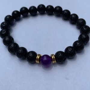 Black Lava Stone Bracelet w Dark purple Bead